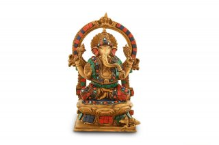 ガネーシャ神像(真鍮製、石細工、円光背)(受注製作)