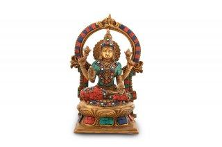 ラクシュミー女神像(真鍮製、石細工、円光背)(受注製作)