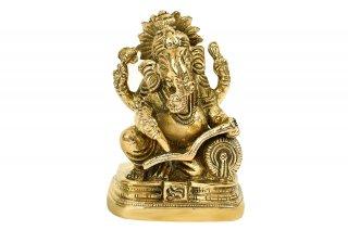 ガネーシャ神像(真鍮製、マハーバーラタ)(受注製作)