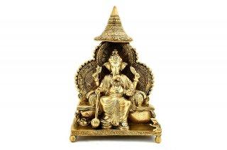 ガネーシャ神像(真鍮製、ラールバーグチャー・ラージャー)(受注製作)