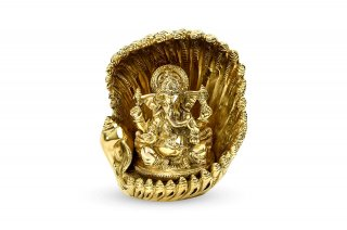 ガネーシャ神像(真鍮製、シャンカ)(受注製作)