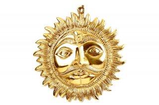 スーリヤ神の壁掛け(真鍮製、直径約19cm)(受注製作)