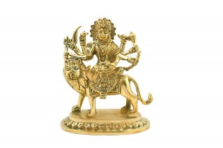 ドゥルガー女神像(真鍮製、高さ約14.0cm)(受注製作)