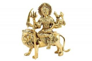 ドゥルガー女神像(真鍮製、高さ約23.4cm)(受注製作)