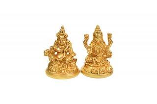 ラクシュミー&クベーラ神像(真鍮製、高さ約7.3cm)(受注製作)