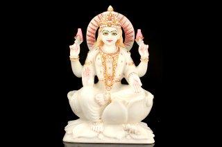 ラクシュミー女神像(大理石、彩色、高さ約30cm、約6.3kg)(受注発注品)