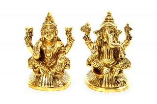 ラクシュミー&ガネーシャ神像(真鍮製、高さ約8cm、約554g)(受注製作)