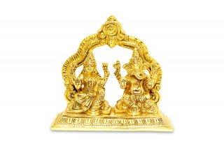 ラクシュミー&ガネーシャ神像(真鍮製、高さ約14cm、約1.4kg)(受注製作)