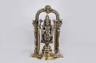 ティルパティ・バラジ神像(真鍮製、高さ約34cm)(受注製作)