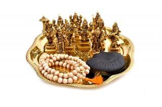 ダシャーヴァターラ神像(真鍮製、シャーラグラーマ&トゥラシー・マーラー付き)(受注製作)