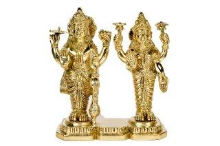 ヴィシュヌ&ラクシュミー神像(真鍮製、高さ約22.6cm)(受注製作)