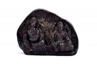 ラクシュミー&ガネーシャ神像(シャーラグラーマ、815g)(受注発注品)