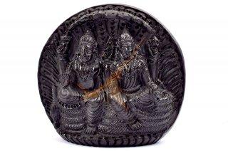 ヴィシュヌ・ラクシュミー神像(シャーラグラーマ、623グラム)(受注発注品)