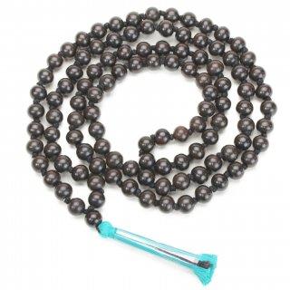 黒壇数珠(108+1ビーズ、10mmサイズ、水色房)