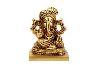 ガネーシャ神像(真鍮製、ターバン)(受注製作)