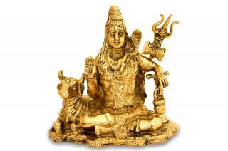 シヴァ神座像(真鍮製)
