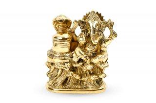 ガネーシャ&シヴァリンガム神像(真鍮製)(受注製作)