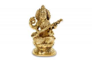 サラスワティー女神(真鍮製、高さ12cm)