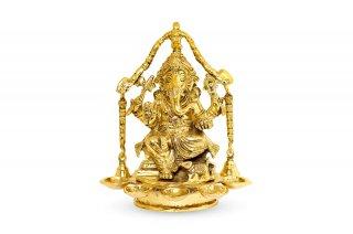 ガネーシャ神像(真鍮製、パンチャアーラティ)(受注製作)