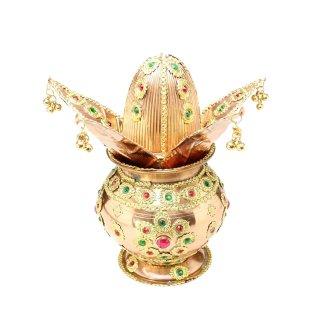 プールナ・カラシャ(銅製、装飾付き)