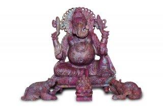 ルビー・ガネーシャ神像(シュリー・ヤントラ付き)(受注発注品)