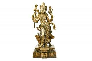 アルダナーリーシュヴァラ神像(真鍮製、大サイズ)(受注製作)