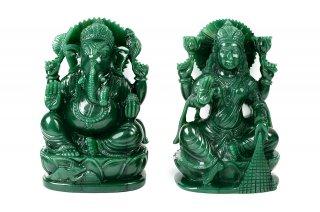 グリーンクォーツァイト・ラクシュミー&ガネーシャ神像(約2.8kg)(受注発注品)