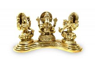 ガネーシャ・ラクシュミー・サラスワティー神像(真鍮製、高さ約10.4cm)(受注製作)