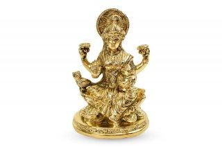 ラクシュミー女神像(真鍮製、高さ約13cm)(受注製作)