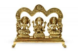 ガネーシャ・ラクシュミー・サラスワティー神像(真鍮製、高さ約17.8cm)(受注製作)