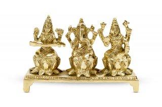 ガネーシャ・ラクシュミー・サラスワティー神像(真鍮製、高さ約7.6cm)(受注製作)