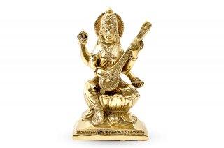 サラスワティー女神像(真鍮製、高さ約15.6cm)(受注製作)