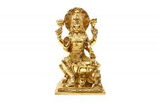 ラクシュミー女神像(真鍮製、高さ約17cm)(受注製作)