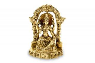 ラクシュミー女神像(真鍮製、高さ約11.2cm)(受注製作)