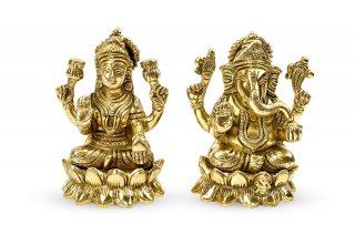 ラクシュミー&ガネーシャ神像(真鍮製、高さ約11cm、約1.35kg)(受注製作)