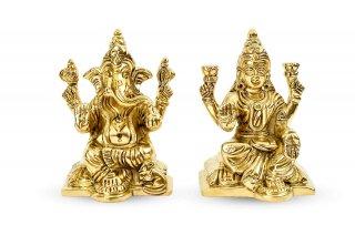 ラクシュミー&ガネーシャ神像(真鍮製、高さ約8.9cm、約623g)(受注製作)
