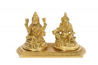ラクシュミー&クベーラ神像(真鍮製、高さ約8.9cm)(受注製作)