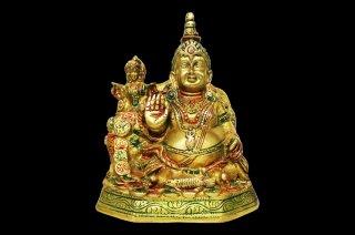 クベーラ神像(真鍮製、彩色)(受注製作)