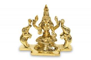 ガジャ・ラクシュミー女神像(真鍮製、高さ約10.4cm)(受注製作)