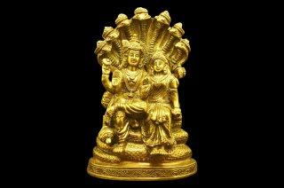 ヴィシュヌ&ラクシュミー神像(真鍮製、高さ約20.3cm)(受注製作)
