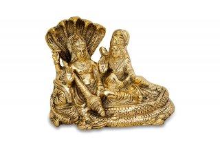 ヴィシュヌ&ラクシュミー神像(真鍮製、高さ約17.2cm)(受注製作)
