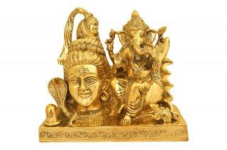 シヴァ&ガネーシャ神像(真鍮製、高さ約21.6cm)(受注製作)