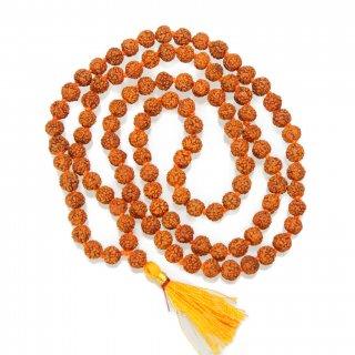 ルドラークシャ・マーラー高品質版(108+1ビーズ、6mm、房色:オレンジ)