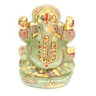 グリーンクォーツァイト・ガネーシャ神像(彩色、約191グラム、高さ約8.1cm)