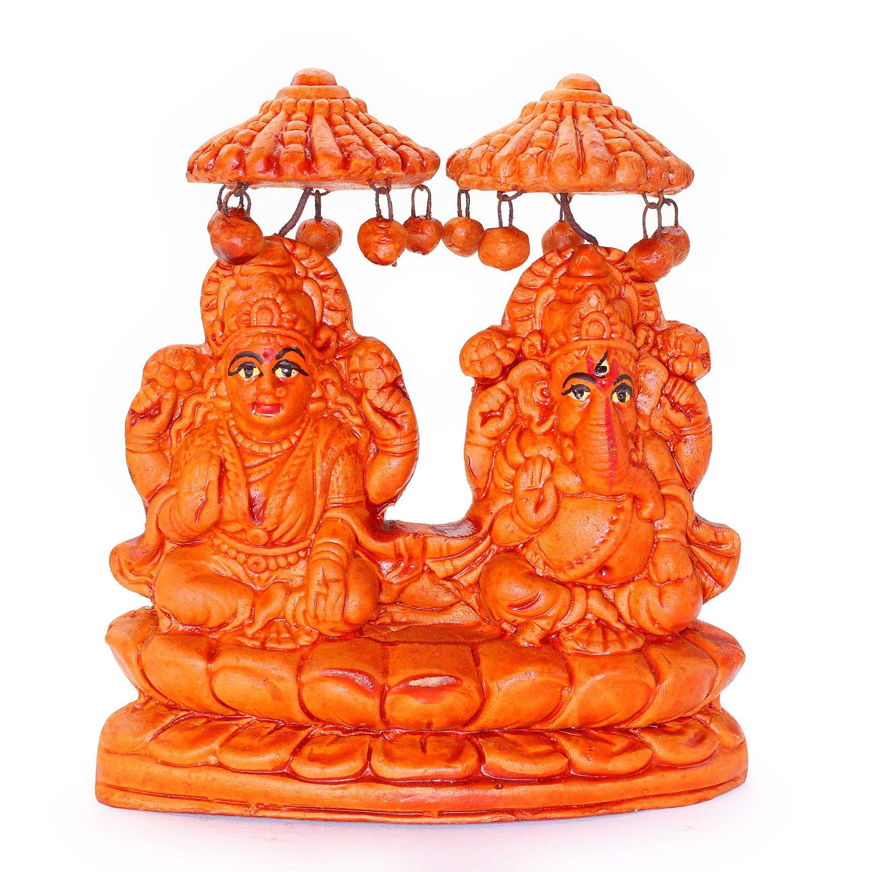 素焼きのガネーシャ&ラクシュミー神像