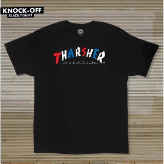 <img class='new_mark_img1' src='//img.shop-pro.jp/img/new/icons5.gif' style='border:none;display:inline;margin:0px;padding:0px;width:auto;' />THRASHER MAGAZINE スラッシャーマガジン KNOCK OFF S/S TEE  BLACK ART BY PARRA