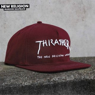 <img class='new_mark_img1' src='//img.shop-pro.jp/img/new/icons5.gif' style='border:none;display:inline;margin:0px;padding:0px;width:auto;' />THRASHER MAGAZINE スラッシャーマガジン NEW RELIGION MAROON SNAPBACK CAP