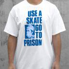 <img class='new_mark_img1' src='//img.shop-pro.jp/img/new/icons5.gif' style='border:none;display:inline;margin:0px;padding:0px;width:auto;' />THRASHER MAGAZINE Use A Skate Go To Prison T-Shirt (White/Blue)
