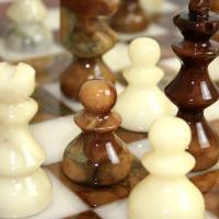 ※送料無料!※【シャープな色合い】アラバスターチェスセット ブラウン×ホワイト NS11