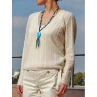 V NECK CABLE SWEATER(GAUZE TYPE)